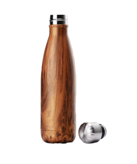portable insulation water bottle marble wood