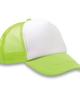 Green and white cap