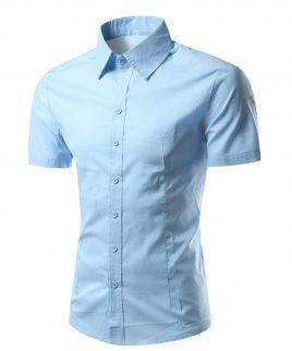 NEW Summer Fashion Mens Shirt Casual Slim Fit Shirt Short Sleeve Mens White Chemise Homme Asian