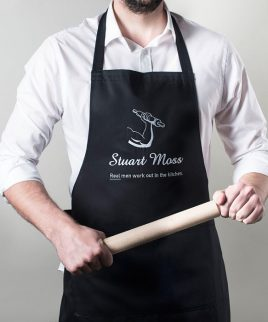 personalised apron real men work out in the kitchen a