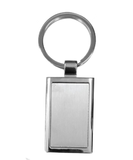 Rectangle shaped silver metal keychain