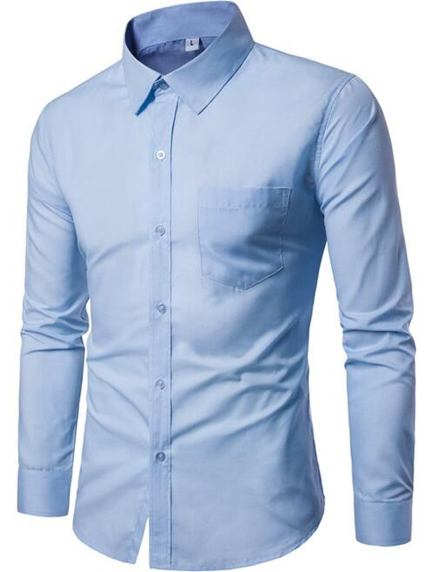 New Brand 2018 Men Shirt 17colors Solid Black Dress Shirt Long Sleeve Slim Fit Camisa Masculina.jpg 640×640