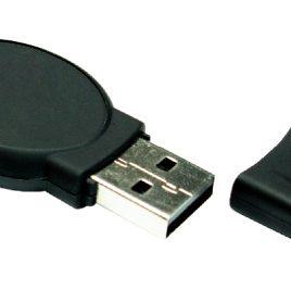 Oval black rubberized USB Flash
